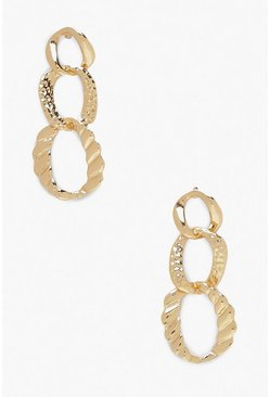Womens Gold Hammered Link Chain Earrings