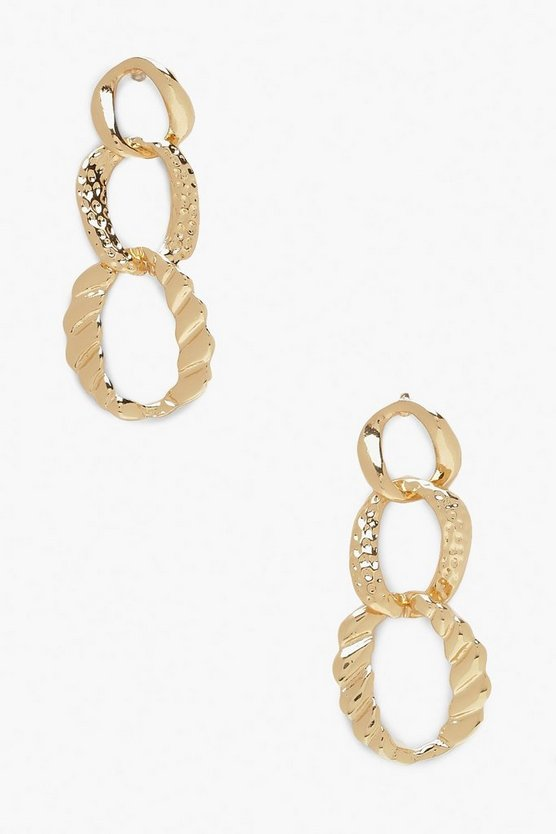 Hammered Link Chain Earrings