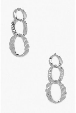 Womens Silver Hammered Link Chain Earrings