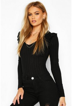 Womens Black Ruffle Shoulder V Neck Rib Top