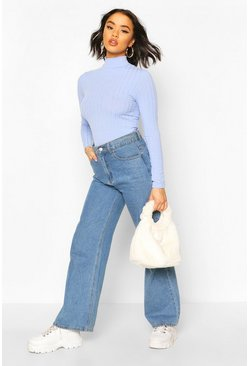 Blue Long Sleeved Turtle Neck Rib Top