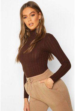 Womens Brown Long Sleeved Turtle Neck Rib Top