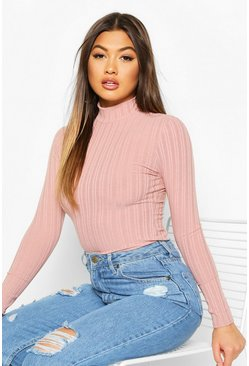 Pink Long Sleeved Turtle Neck Rib Top