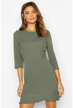Khaki Frill Inset Bodycon Dress