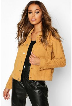 Womens Tan Cord Trucker Jacket