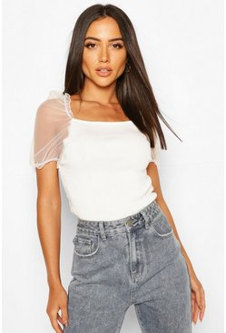 Ivory Short Sleeve Organza Puff Sleeve Top