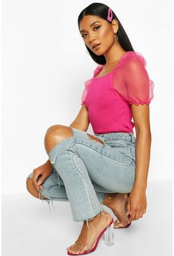 Neon-pink Short Sleeve Organza Puff Sleeve Top