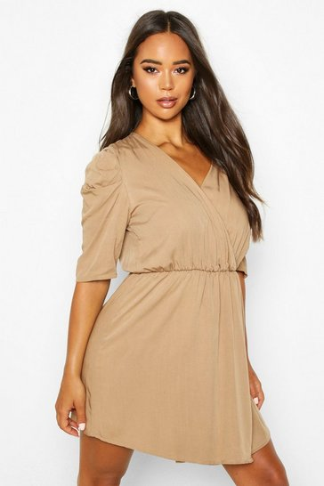 Womens Taupe Volume Sleeve Wrap Detail Dress