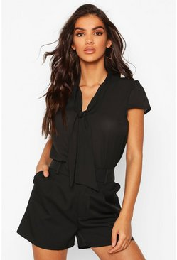 Womens Black Pussybow Short Sleeve Woven Blouse