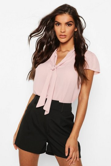 Womens Blush Pussybow Short Sleeve Woven Blouse