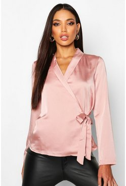 Womens Blush Wrap Over Satin Blouse