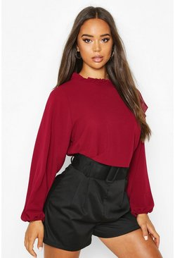 Berry High Neck Frill Detail Long Sleeve Top