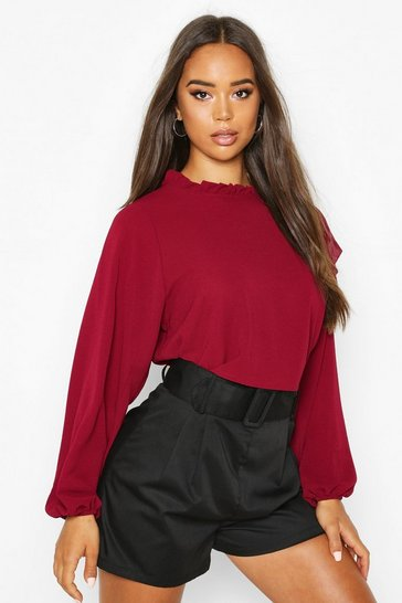 Womens Berry High Neck Frill Detail Long Sleeve Top