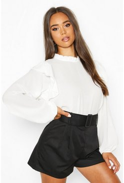 Ivory High Neck Frill Detail Long Sleeve Top