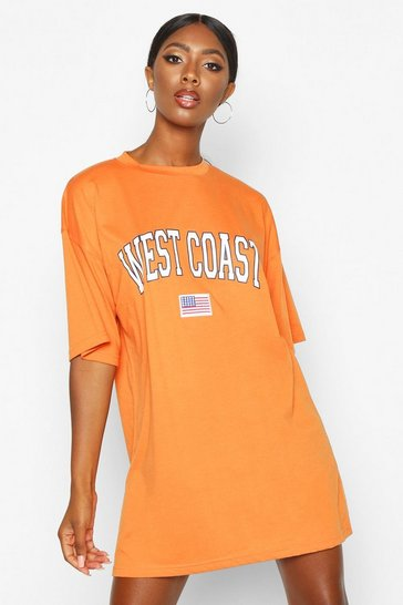 Womens Orange West Coast Badge Detail Oversized T-Shirt Dress