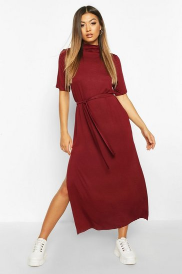 Womens Wine High Neck T-Shirt Dress
