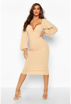 Womens Stone Off The Shoulder V Bar Midi Dress