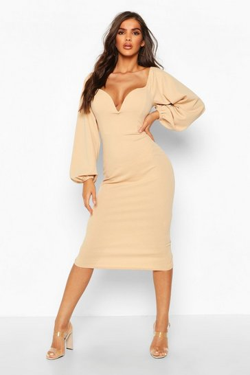 df53a1d53a Off The Shoulder V Bar Midi Dress
