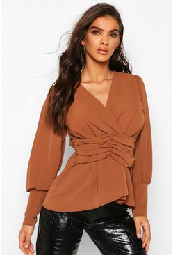 Womens Rust Volume Sleeve Wrap Ruched Waist Blouse
