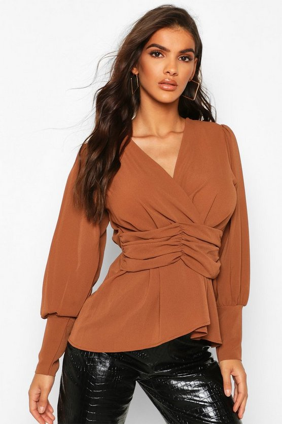 Volume Sleeve Wrap Ruched Waist Blouse by Boohoo