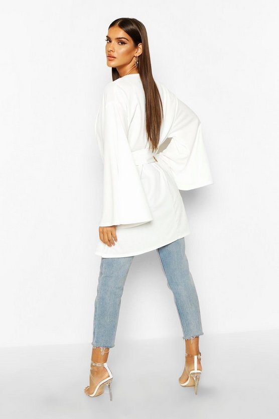 Belted Collared Wide Sleeve Kimono