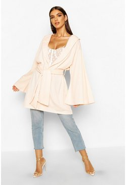 Womens Stone Belted Collared Wide Sleeve Kimono