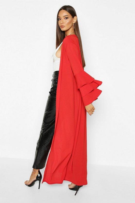Ruffle Layered Sleeve Maxi Kimono