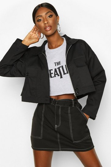 Womens Black Crop Double Pocket Utility Jacket