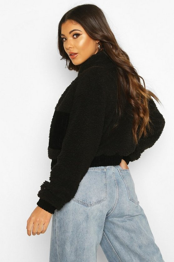 Cord Trim Teddy Faux Fur Jacket