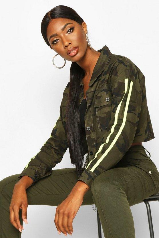 Neon Stripe Camo Utility Jacket