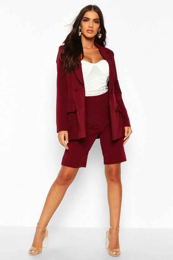 Maroon Tailored City Shorts