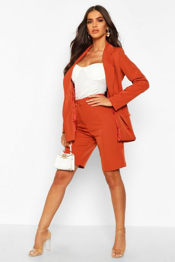 Womens Rust Tailored City Shorts