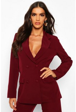 Womens Maroon Woven Double Breasted Pocket Detail Blazer