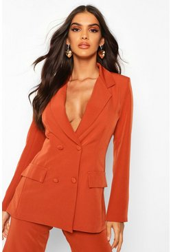 Womens Rust Woven Double Breasted Pocket Detail Blazer