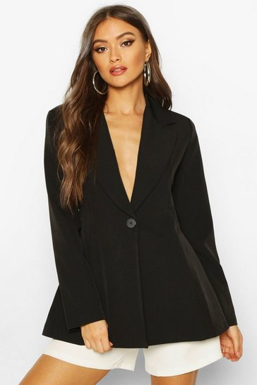Womens Black Flared Tailored Blazer