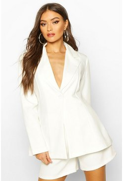 Womens Ivory Flared Tailored Blazer