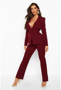 Womens Maroon Straight Leg Trouser