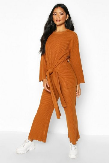 Womens Rust Tie Front Knitted Set