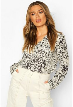 Womens Stone Leopard Print Utility Woven Blouse
