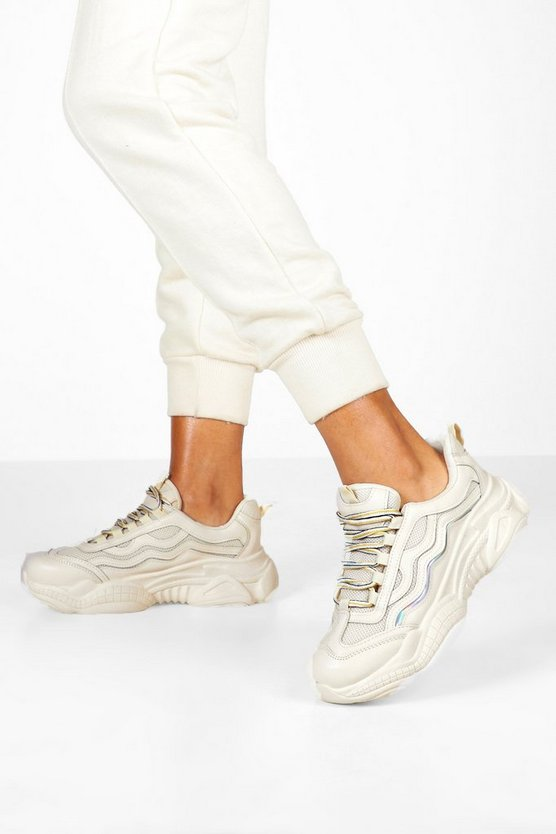Lace Up Contrast Chunky Trainers