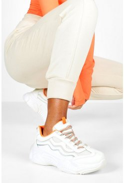 Womens White Lace Up Contrast Chunky Trainers