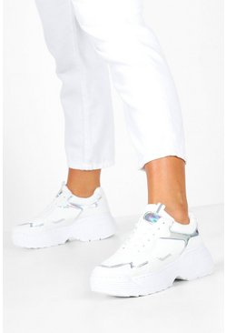 Womens White Holographic Panel Chunky Sole Trainers