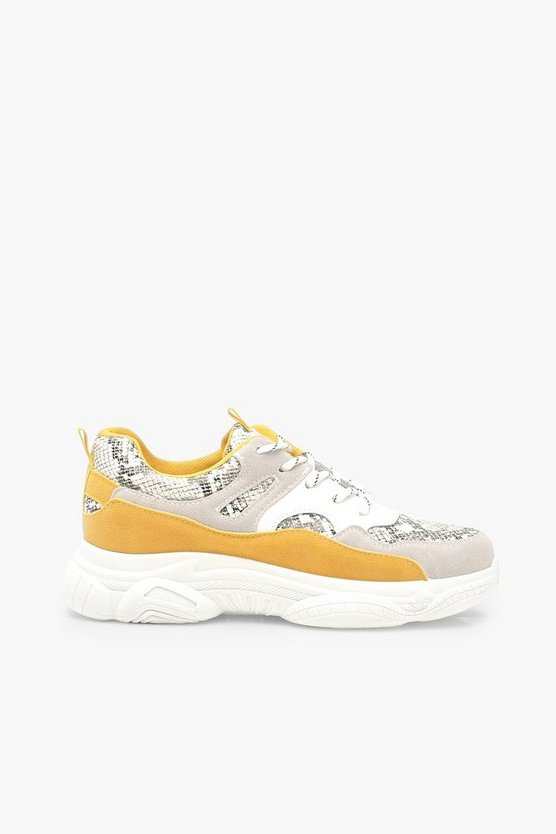 Snake Colour Block Chunky Sole Trainers