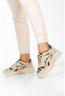 Sand Leopard Panel Chunky Sole Sneakers