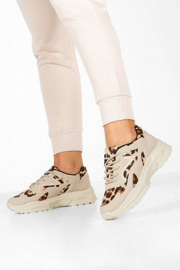 Womens Sand Leopard Panel Chunky Sole Trainers