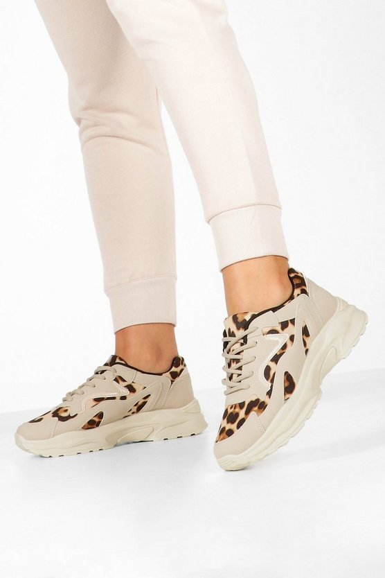 Leopard Panel Chunky Sole Trainers