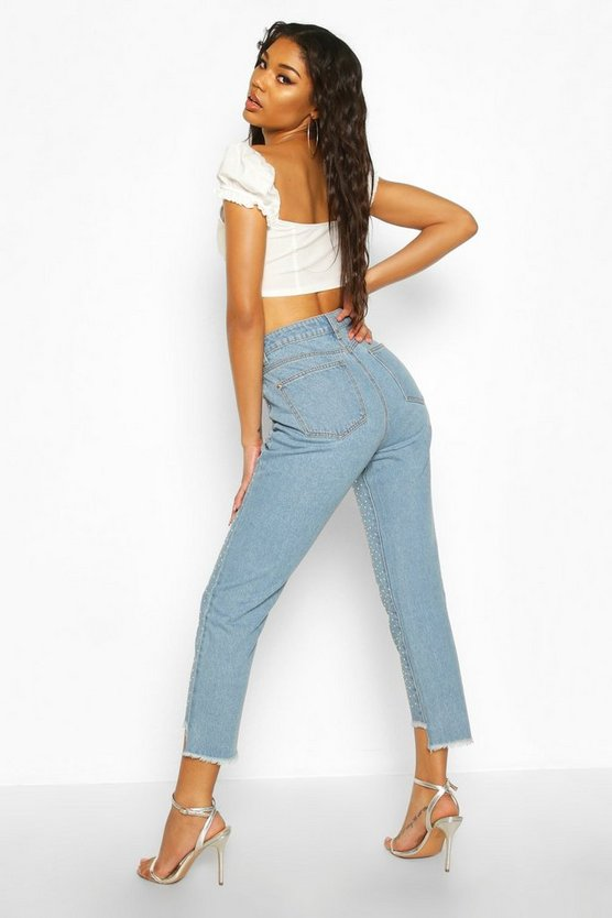 Diamante Rhinestone High Rise Mom Jeans