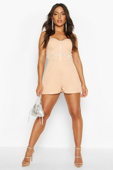 Womens Nude Diamante Trim Sweetheart Playsuit