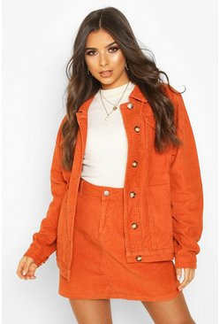Rust Cord Longline Trucker Jacket