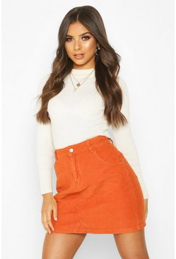Womens Rust Cord Mini Skirt